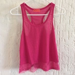 Spoiled Pink Racerback Tank Size Small
